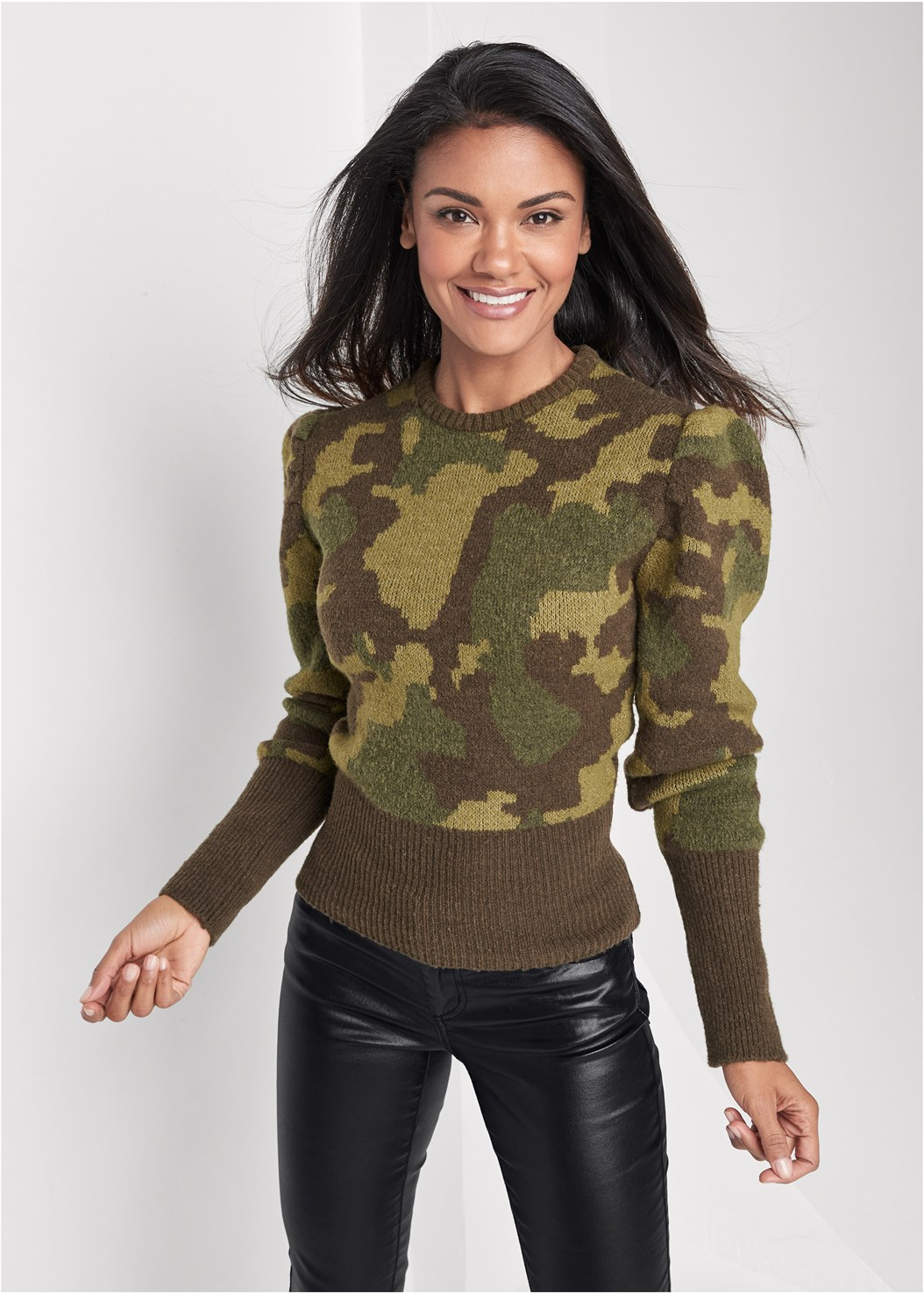 Camo Print Puff Sleeve Sweater,Faux Leather Pants,Naked T-Shirt Bra,Buckle Detail Booties