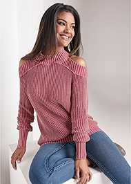 Front View Cold Shoulder Mock Neck Sweater