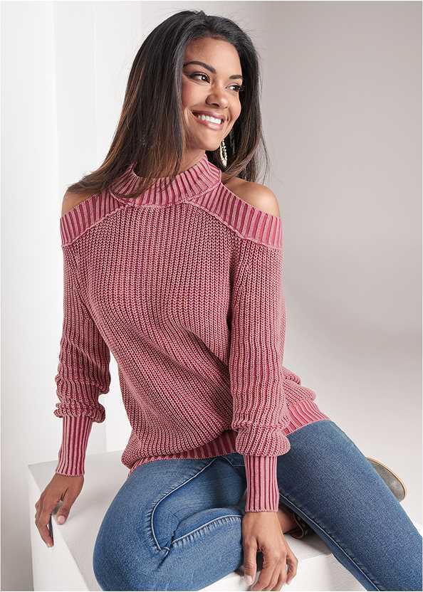 Cold Shoulder Mock Neck Sweater,Mid Rise Color Skinny Jeans,Wrap Stitch Detail Booties,Beaded Drop Earrings
