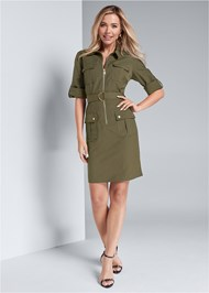 Full front view Pocket Detail Utility Dress