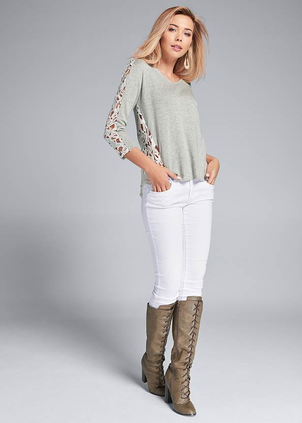 Full front view Lace Sleeve Top