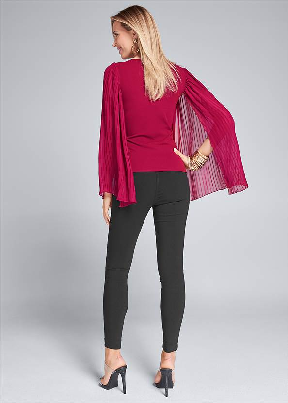 Full back view Pleated Sleeve Top