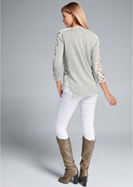 Full back view Lace Sleeve Top