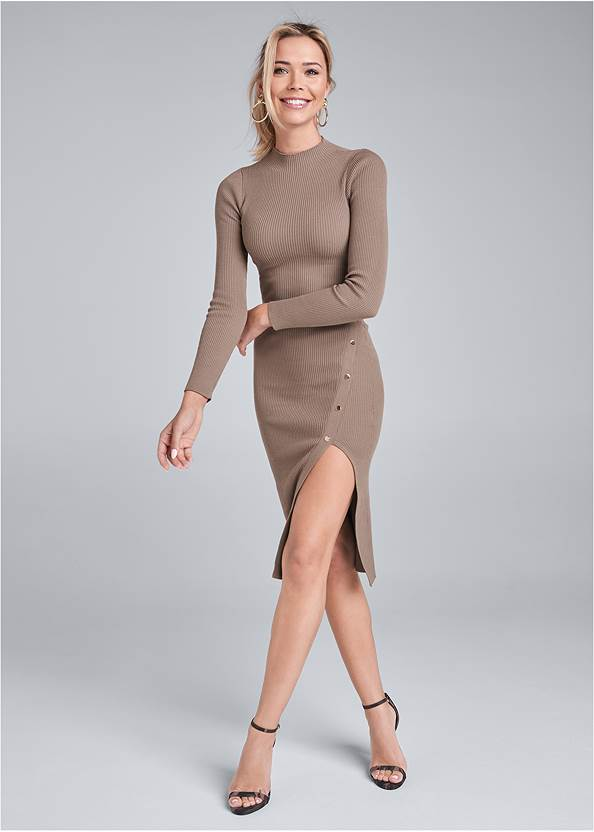 Ribbed Button Detail Dress,Ankle Strap Heels