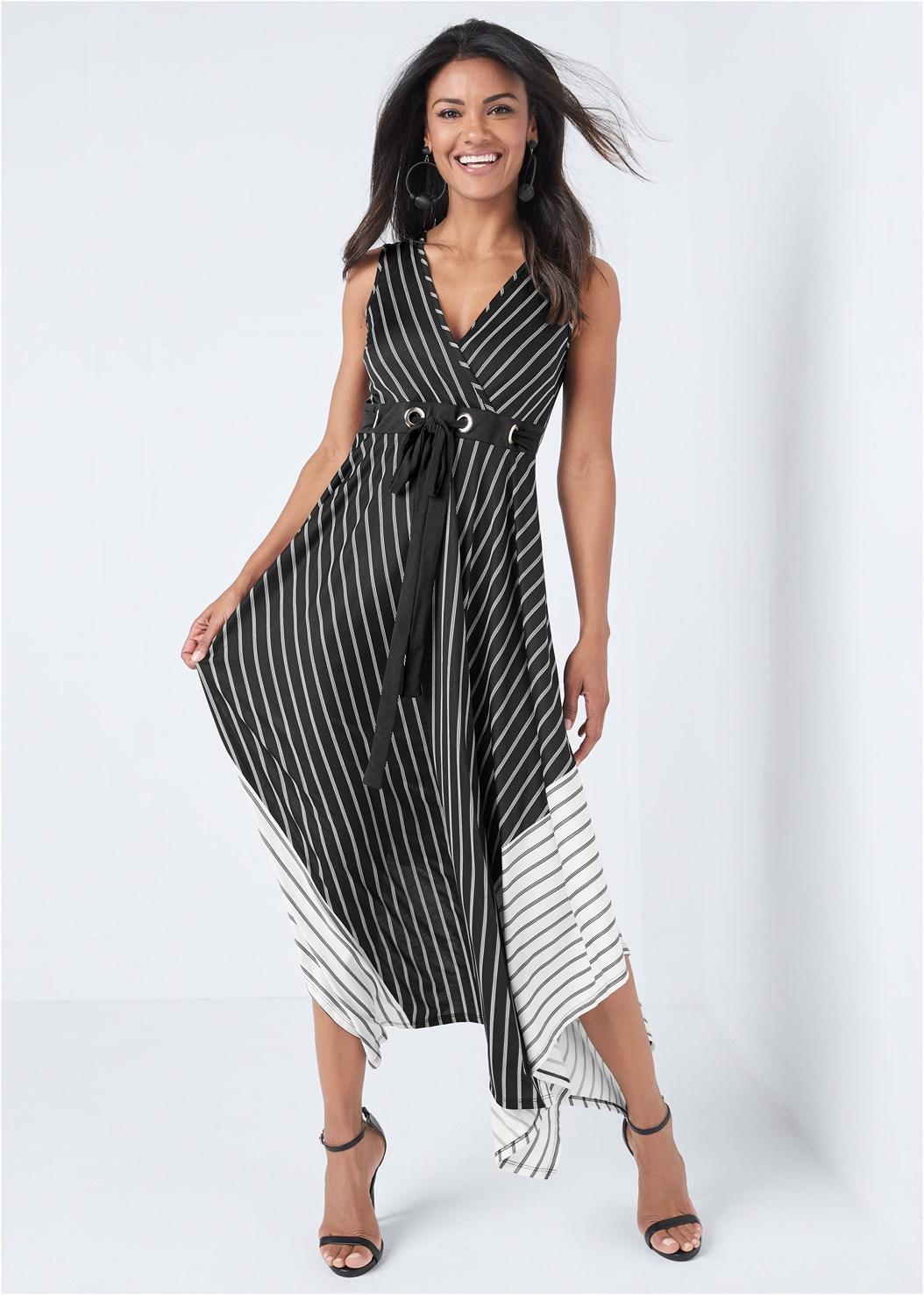 Striped Color Blocked Dress,Kissable Convertible Bra,Ankle Strap Heels,Bauble Hoop Earrings