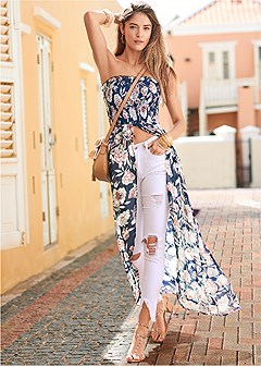 smocked floral high low top