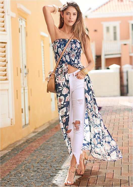 SMOCKED FLORAL HIGH LOW TOP,TRIANGLE HEM JEANS,FULL FIGURE STRAPLESS BRA,TRANSPARENT STUDDED HEELS,EMBELLISHED HEELS,TASSEL DETAIL HOOP EARRINGS,MIXED MEDIA BANGLE SET,STUDDED SATCHEL CROSSBODY