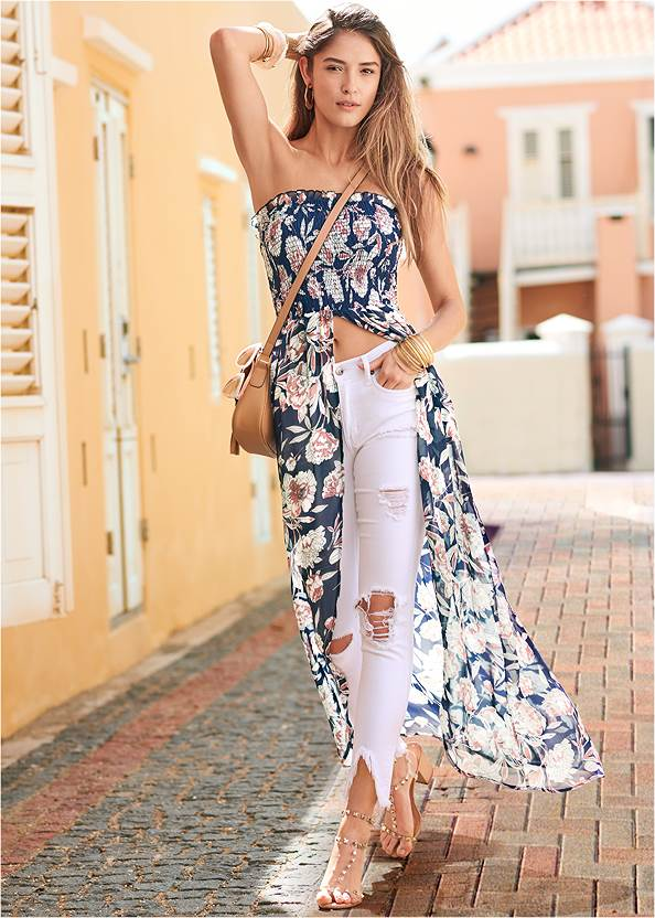 Smocked Floral High Low Top,Triangle Hem Jeans,Frayed Cut Off Jean Shorts,Transparent Studded Heels,Rhinestone Thong Sandals,Beaded Tassel Earrings