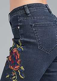Detail side view Floral Skinny Jeans