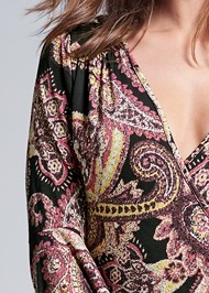 Detail front view Paisely Printed Wrap Dress