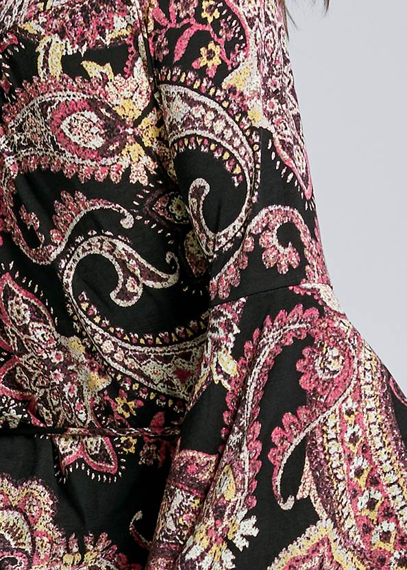 Detail back view Paisely Printed Wrap Dress