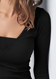Alternate View Ribbed Mesh Seamless Top