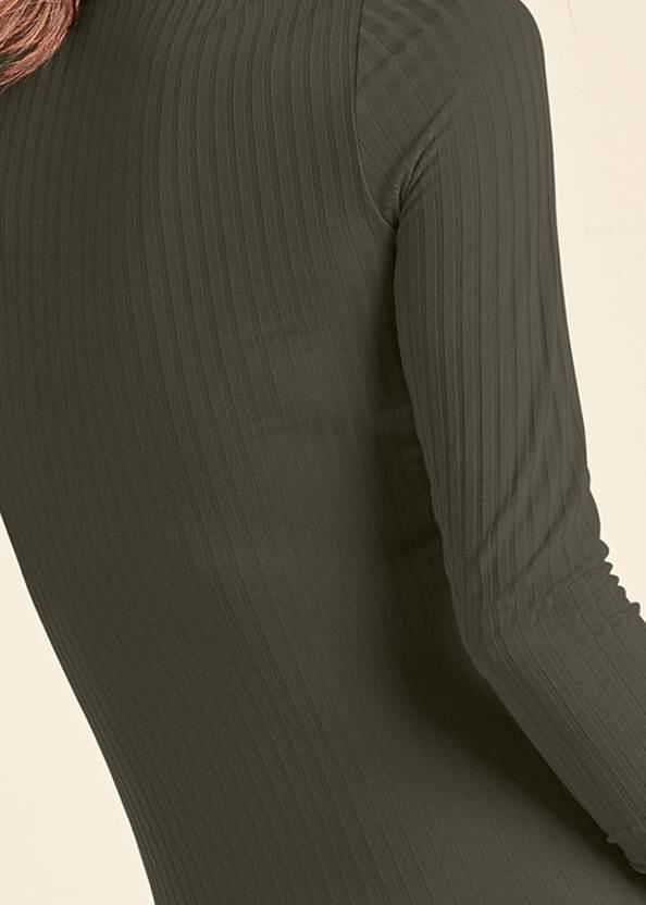 Detail back view Ribbed Mock Neck Long Dress
