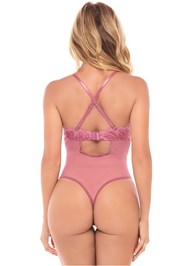 Cropped  view Lace Thong Bodysuit