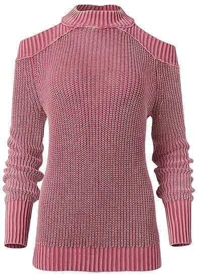 Plus Size Cold Shoulder Mock Neck Sweater