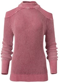 Alternate View Cold Shoulder Mock Neck Sweater