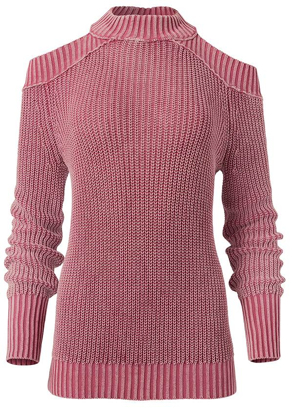 Alternate View Cold Shoulder Mock Neck Sweater