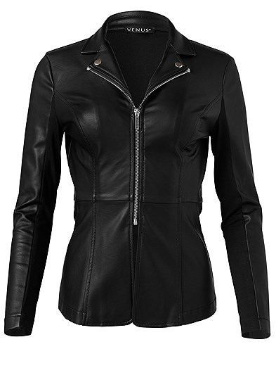 Plus Size Ponte And Faux Leather Jacket