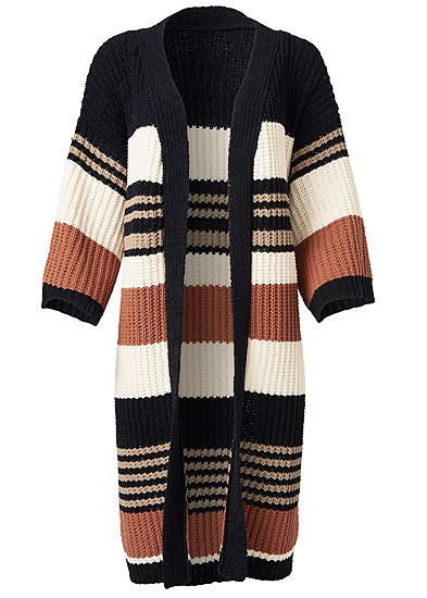 Plus Size Striped Chenille Duster