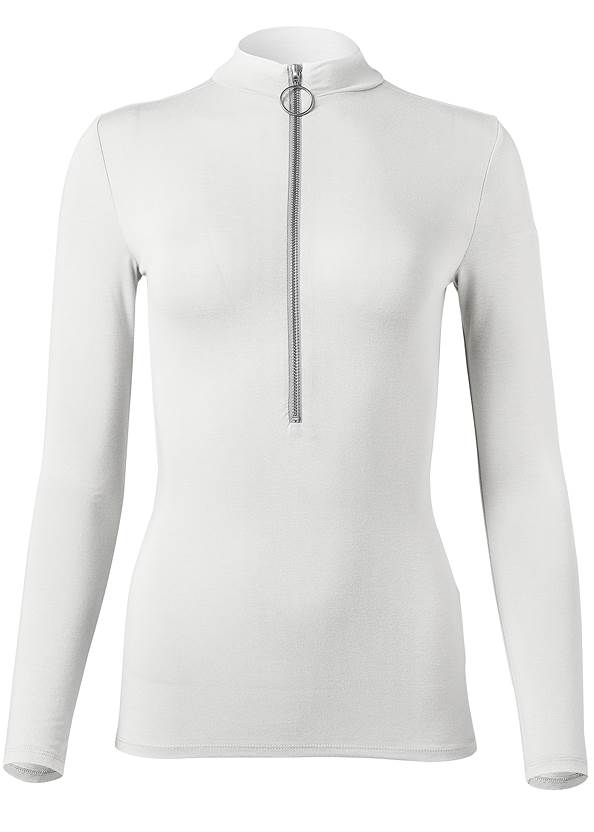 Ghost with background  view Zipper Mock Neck Top