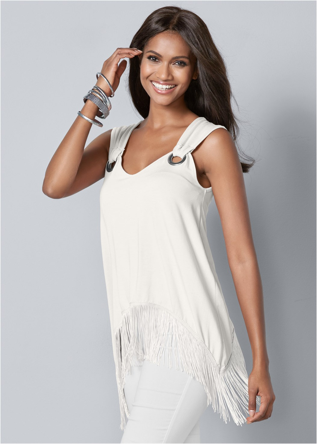 Fringe Detail Top,Mid Rise Full Length Slimming Stretch Jeggings,High Heel Strappy Sandals,Circle Ring Detail Handbag