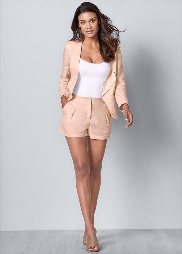 Linen Shorts,Linen Blazer,Wrap Around Heels
