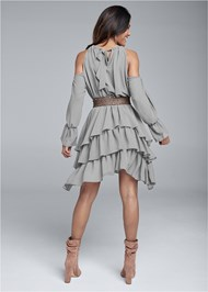 Full back view Cold Shoulder Tiered Dress
