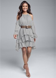 Full front view Cold Shoulder Tiered Dress