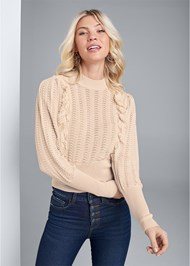 Front View Pointelle Detail Sweater