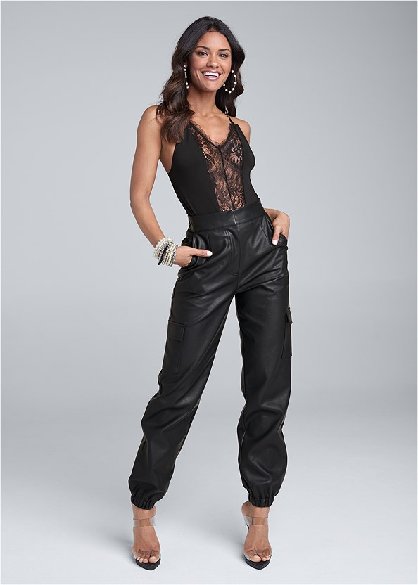 Faux Leather Jogger Pants,Lace Cami,Lift It Up Backless And Strapless Plunge,Lucite Strap Heels,Pearl Hoop Earring Set,Pearl Detail Bracelet Set