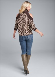 Back View Leopard Print Cold Shoulder Sweater