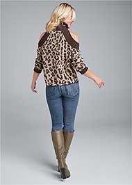 Back View Leopard Print Cold Shoulder Sweater