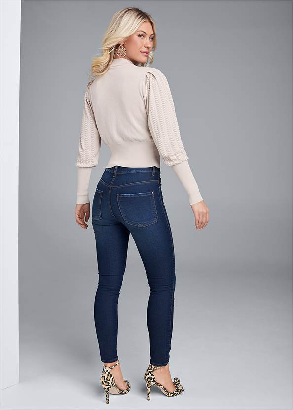 Back View Pointelle Detail Sweater