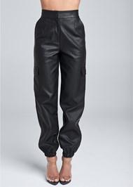 Front View Faux Leather Jogger Pants