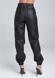 Back View Faux Leather Jogger Pants