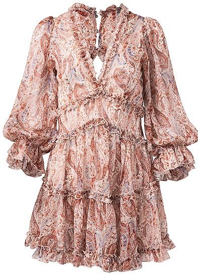 Plus Size Paisley Print Tiered Open Back Mini Dress