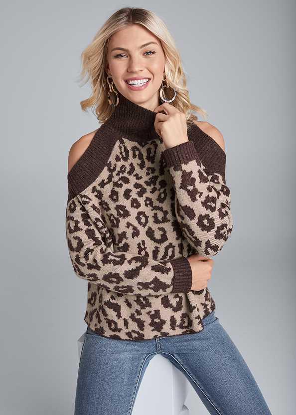 Leopard Print Cold Shoulder Sweater,Mid Rise Color Skinny Jeans