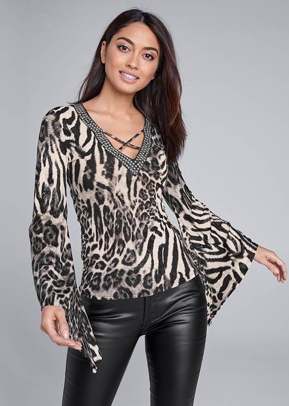 Animal Print Top,Faux Leather Pants,Ankle Strap Heels
