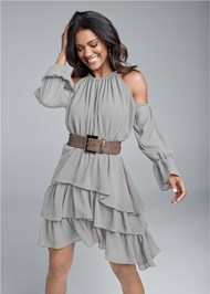 Front View Cold Shoulder Tiered Dress