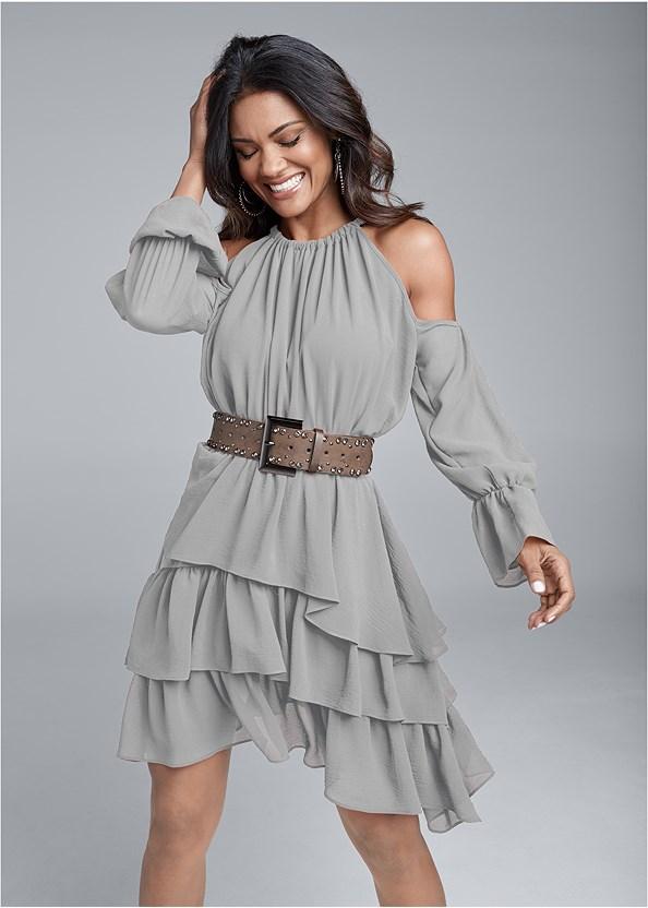 Cold Shoulder Tiered Dress,Stud Detail Belt,Peep Toe Booties,Studded Matte Hoops