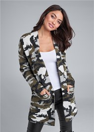 Front View Camo Print Coatigan