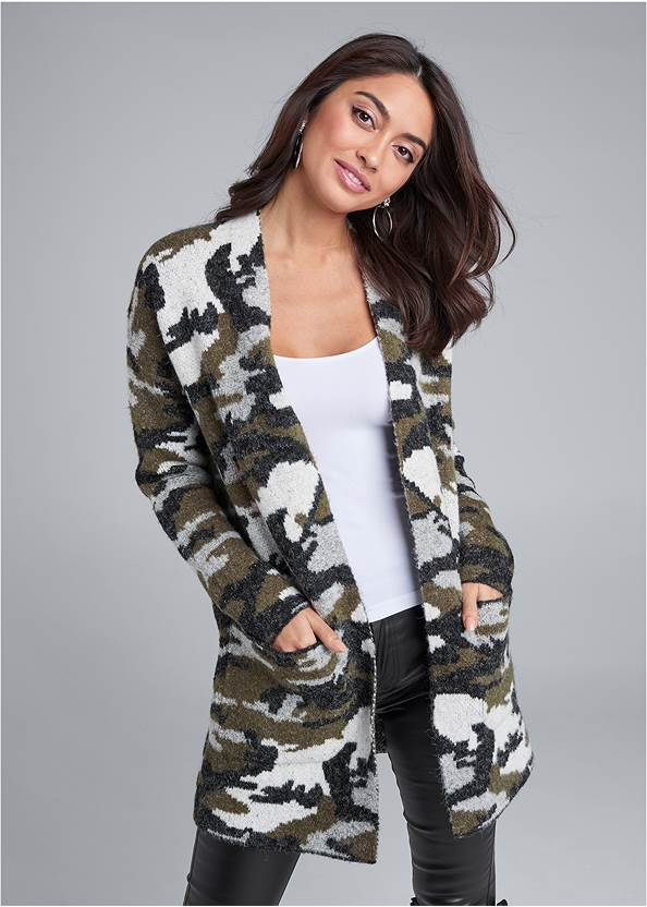 Camo Print Coatigan,Lace Cami,Faux Leather Pants,Buckle Riding Boots,Tall Belt Detail Boot