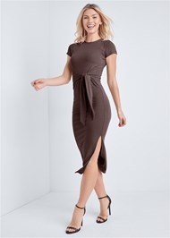 Alternate View Tie Front Ribbed Dress