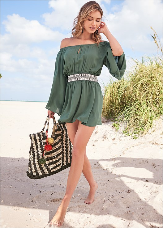 OFF THE SHOULDER COVER-UP,TRIBAL TRIANGLE,TRIBAL LOW RISE BOTTOM,TRIBAL ONE-PIECE,STRIPED STRAW TOTE