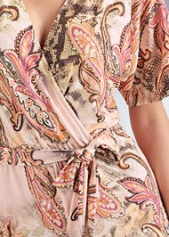 Detail front view Paisley Tie Front Romper