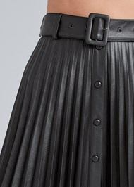 Detail front view Pleather Pleated Skirt