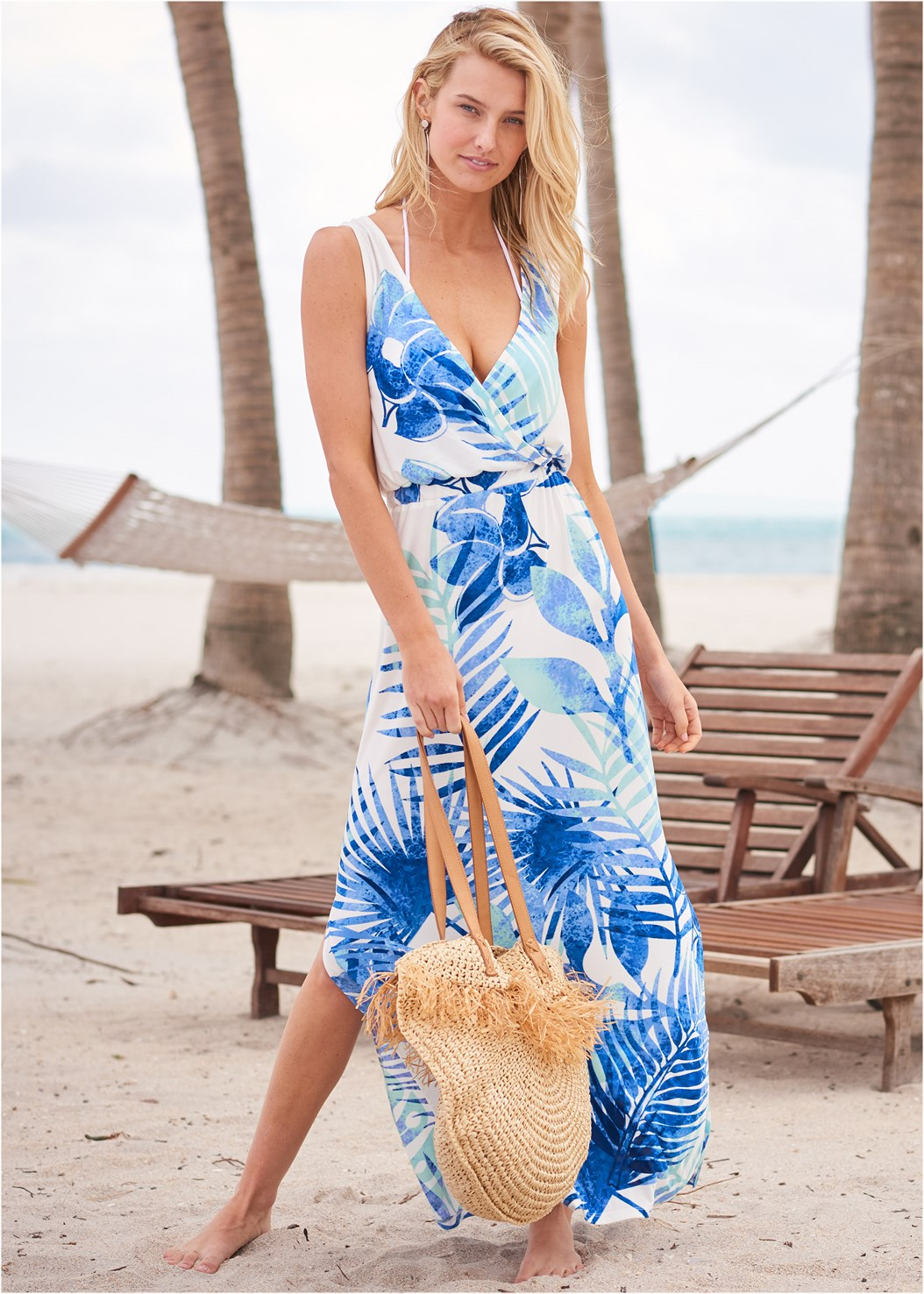 Cinch Waist Cover-Up Dress,Triangle String Bikini Top,Scoop Front Classic Bikini Bottom ,Straw Bag