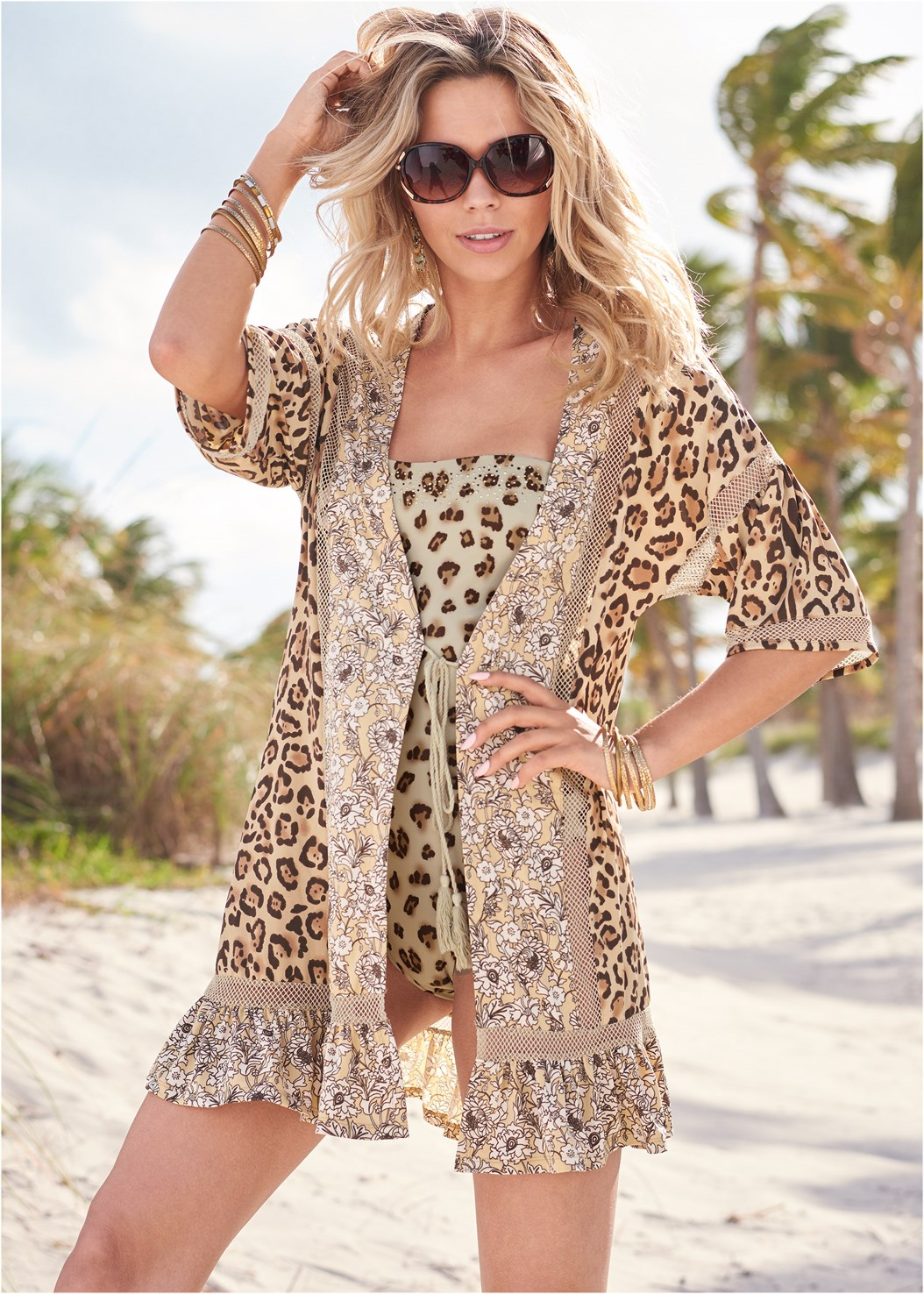 Tassel Tie Kimono Cover-Up,Reversible Monokini,Reversible String Bottom,Sequin And Straw Tote