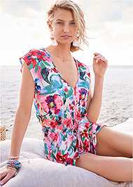 Cropped Front View Waist Tie Romper Cover-Up