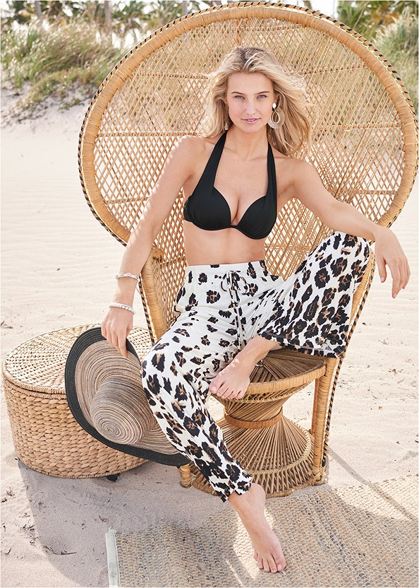 Flare Cover-Up Pants,Marilyn Underwire Push Up Halter Top,Scoop Front Classic Bikini Bottom ,Mid Rise Hipster Classic Bikini Bottom